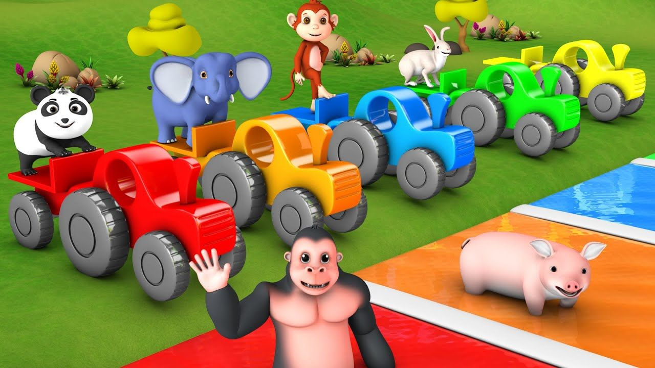 Animals Learn Colors for Kids with Wooden Tractor Toys