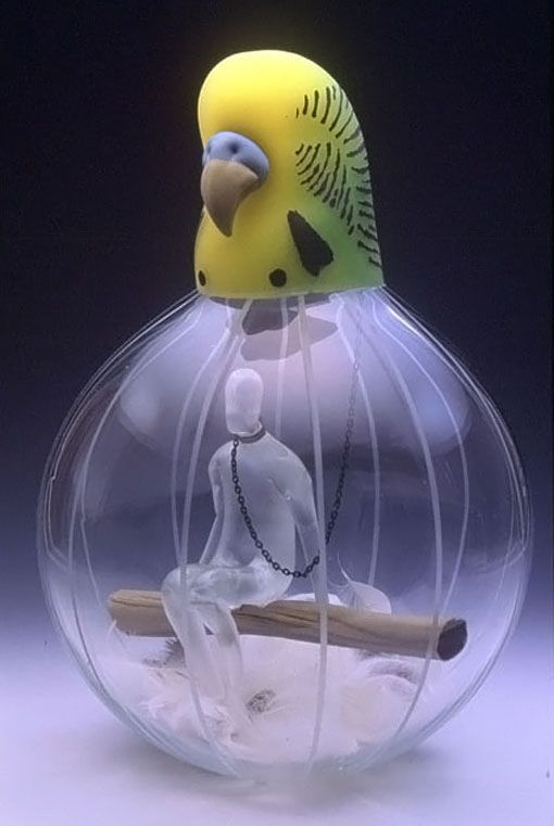 Glass--Japan-Toshikazu KOBAYASHI Japanese Glass Artist Toshikazu Kobayashi, strangely symbolic- that of a caged birds lifeJapanese Glass Artist Toshikazu Kobayashi, strangely symbolic- that of a caged birds life