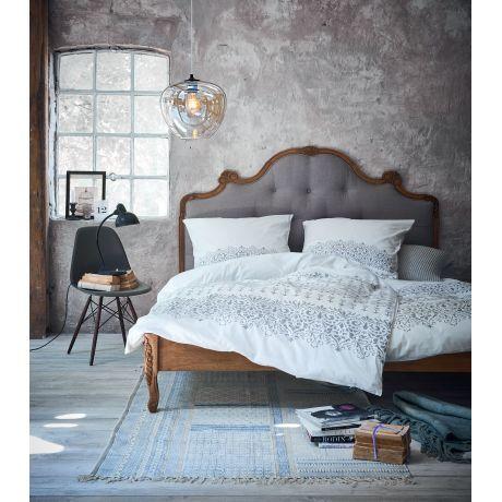 Bett, Knopfheftung, Romantik-Look, Mango massiv, Leinenbzug - romantische schlafzimmer landhausstil