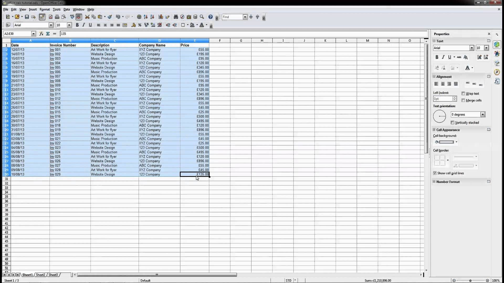 Open Office   Calc Spreadsheet Beginners Tutorial  Dcp Web