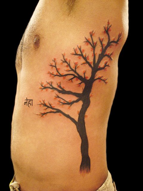 Japanese blossom tattoo by Miguel Angel tattoo, via Flickr