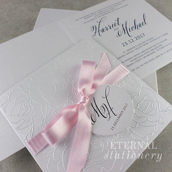 Embossed Wedding Invitation Created by Eternal Stationery www.eternalstationery.com.au