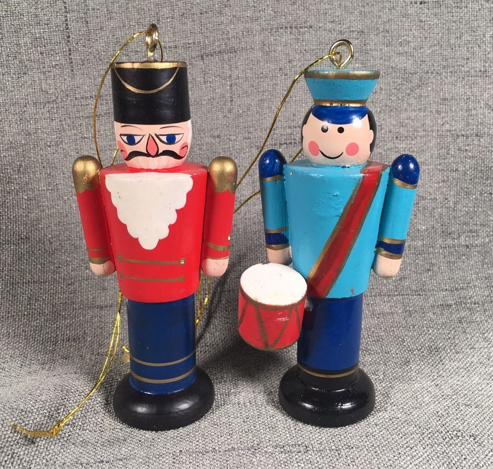 vintage hand painted wooden christmas ornaments toy soldiers