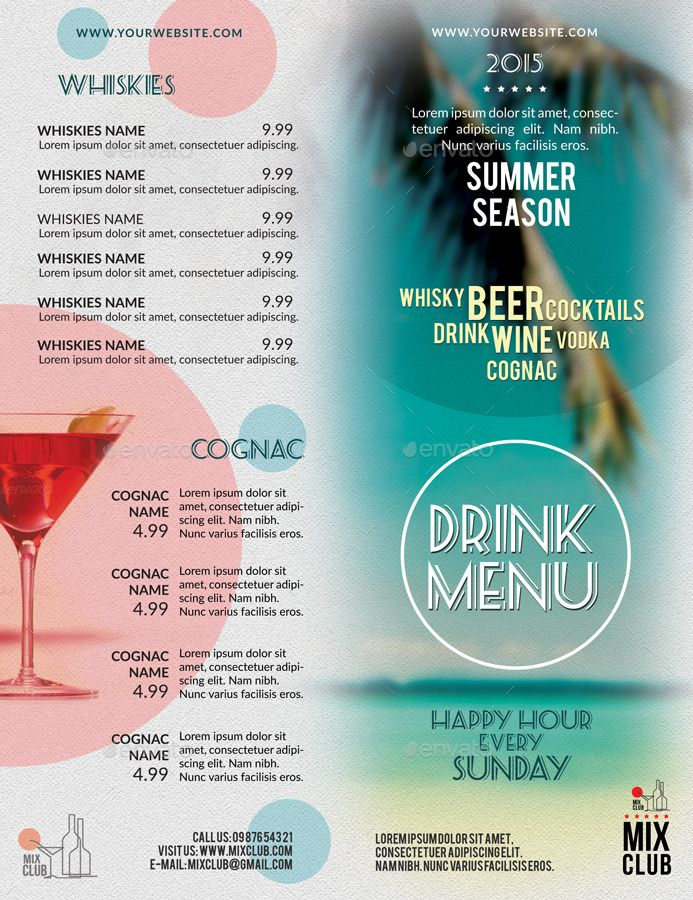 Drink Menu Summer Season  Drink Menu Menu And Menu Templates