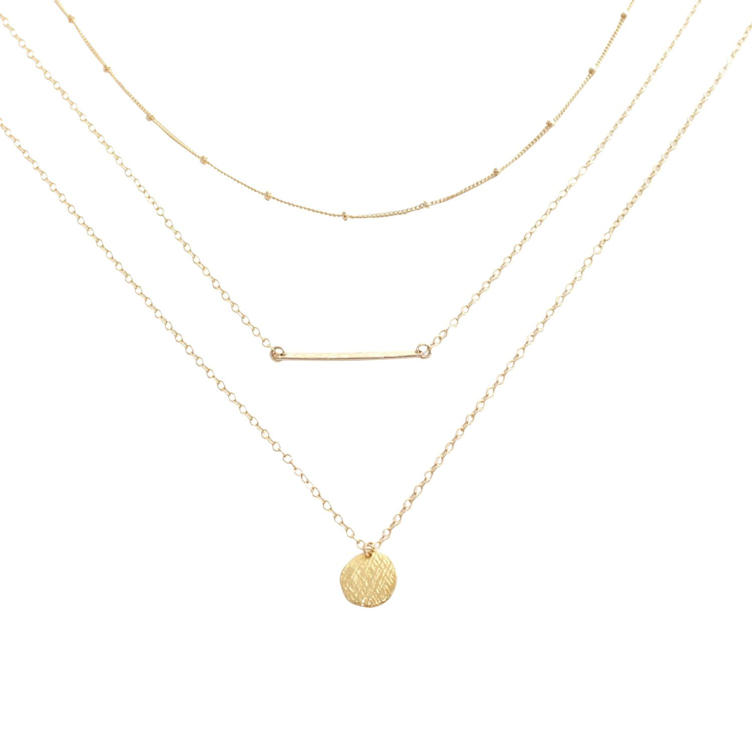 Gold layering necklace set save delicate gold jewelry