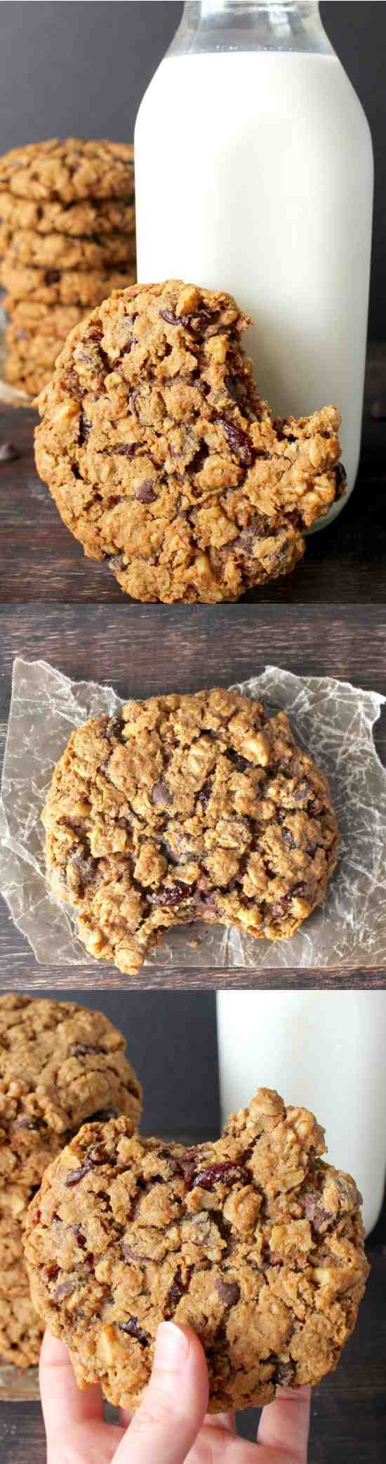 BIG AND CHEWY OATMEAL COOKIES - chip, chocolate, cinnamon, cookie, dessert, recipes, walnut