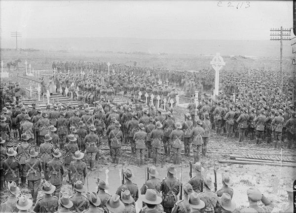 Unveiling of the Memorial to the 1st Australian Division, Pozieres, 8th July 1917