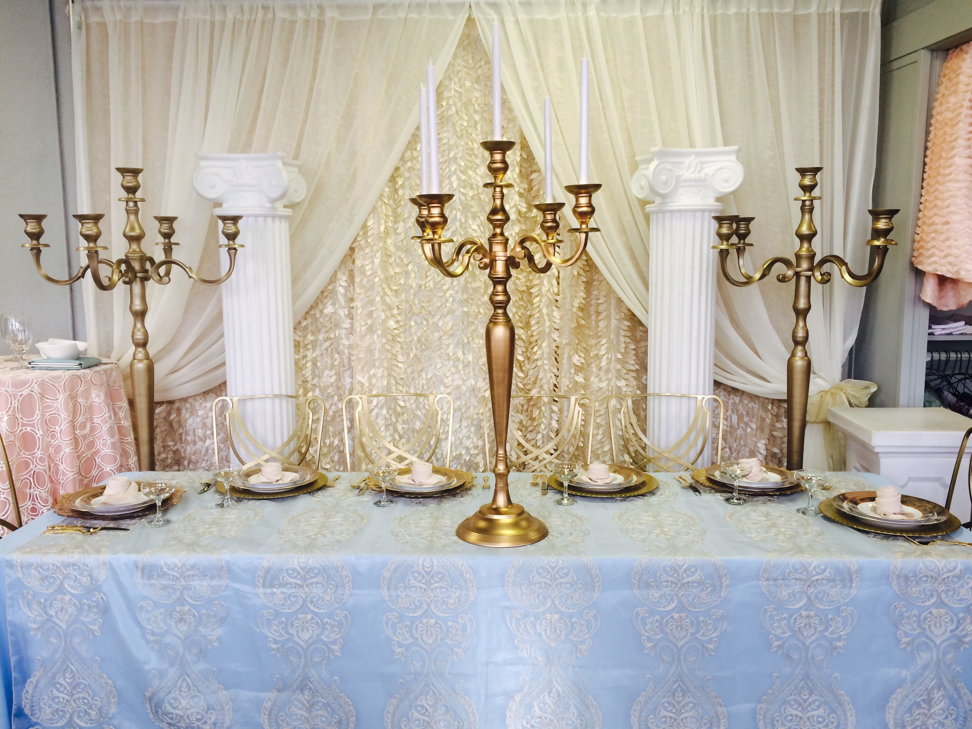 Beauty & The Beast Wedding. Gold Candelabra. Themed Wedding. Pipe ...