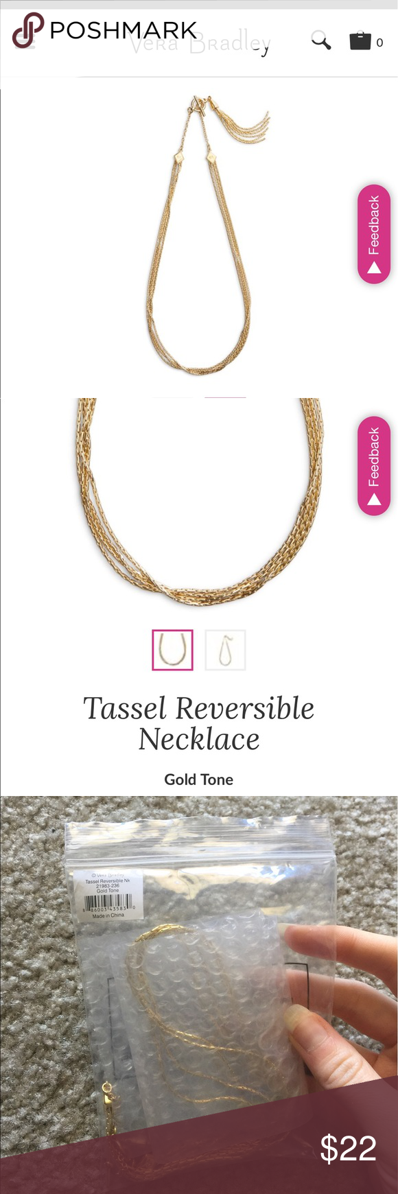 Vera bradley gold tone tassel reversible necklace Brand new in bag Vera Bradley gold tone reversible tassel necklace. Tassel is removable can be worn two ways, super cute and perfect condition! Vera Bradley Jewelry Necklaces