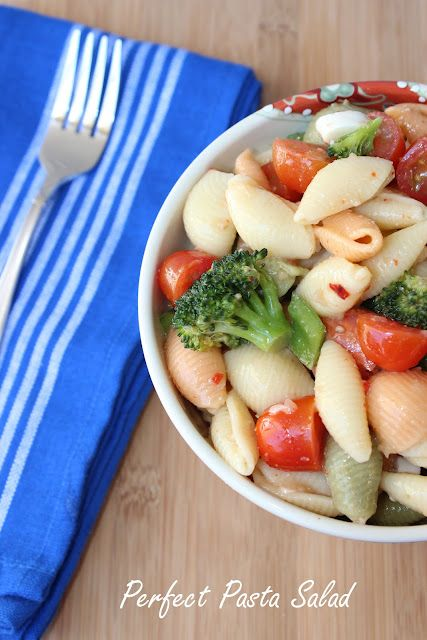 Perfect pasta salad-great for potlucks or summer barbeques. Only requirements are pasta and Italian dressing then add in your favorite vegetables, cheese, and pepperoni.