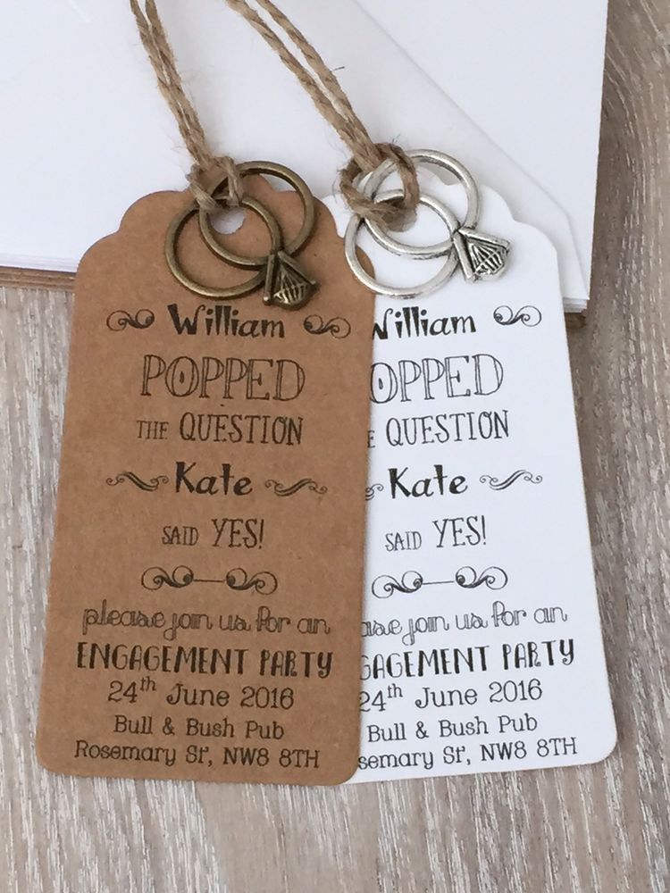 Personalised Save The Date Card with Ring Charm Engagement Party Invitation