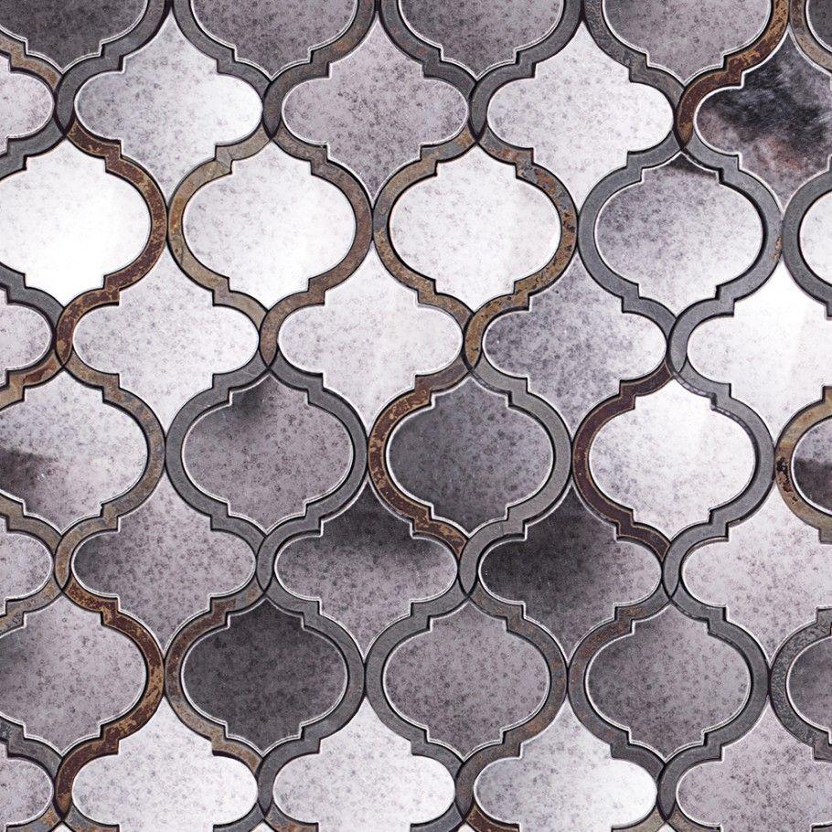 Veranda Paris Gray Quartz & Mirror Tile - Arabesque Tile - Shop By ...