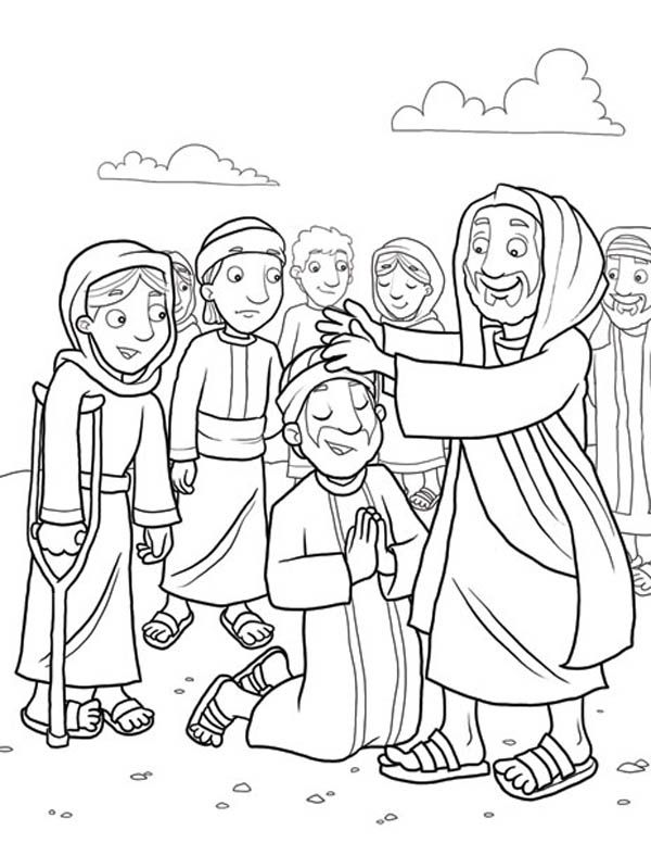 coloring page jesus heals the sick
