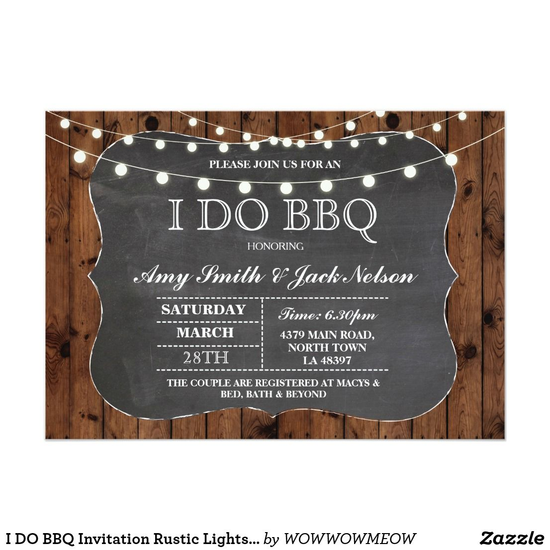 I Do Bbq Invitation Rustic Lights Couples Invite Elegant Wedding