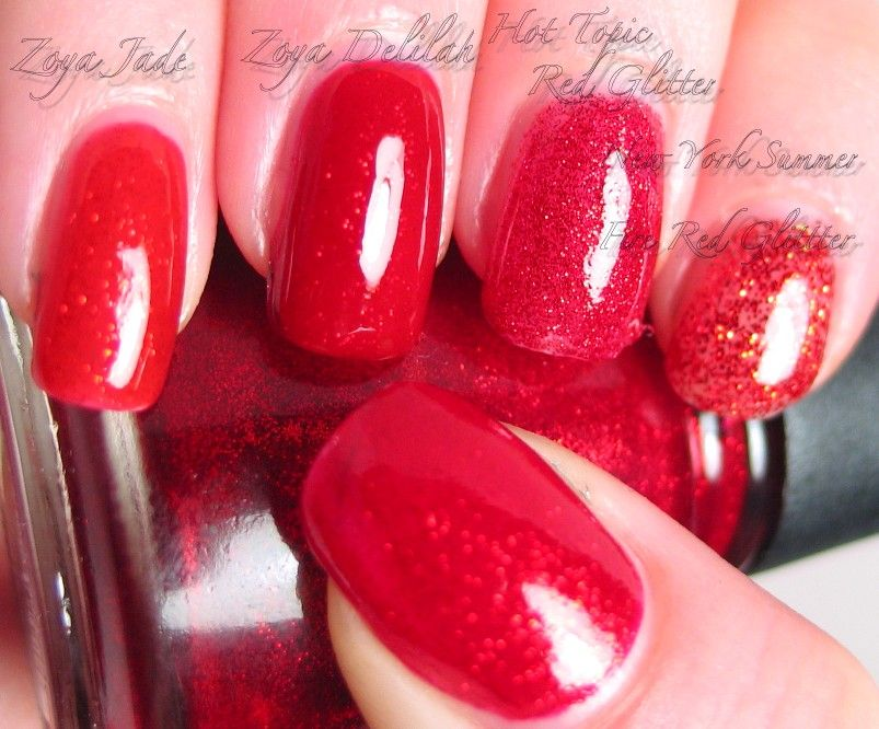 red glitters! Thumb to pinkie: China Glaze Ruby Pumps, New York ...