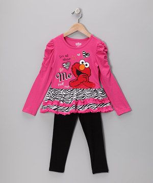 Take a look at this Dark Pink Zebra Elmo Tunic   Leggings - Infant    Toddler by Sesame Street on today! edf4b52f0