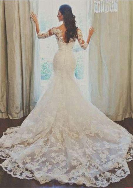 2016 Lace Mermaid Wedding Dresses 3/4 Long Sleeves Beaded Belt Elegant Bridal Gowns