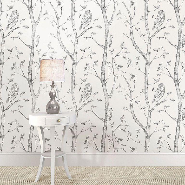 Wallpops Owls In The Woods Grey Peel Stick Wallpaper L 5500mm