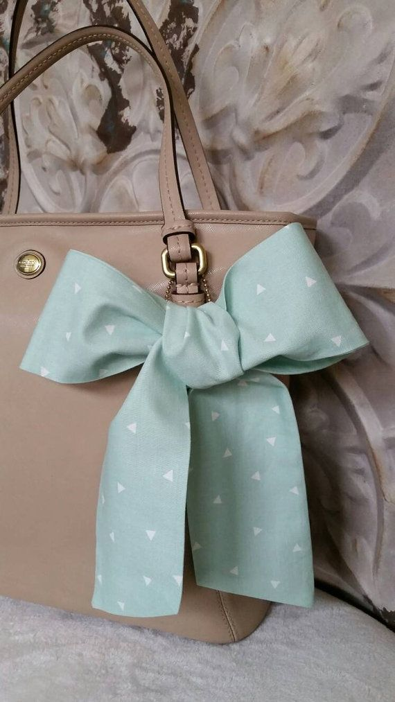 Shabby Chic MINT Triangle Graphic Purse Scarf Neck Bow by CindiLuv