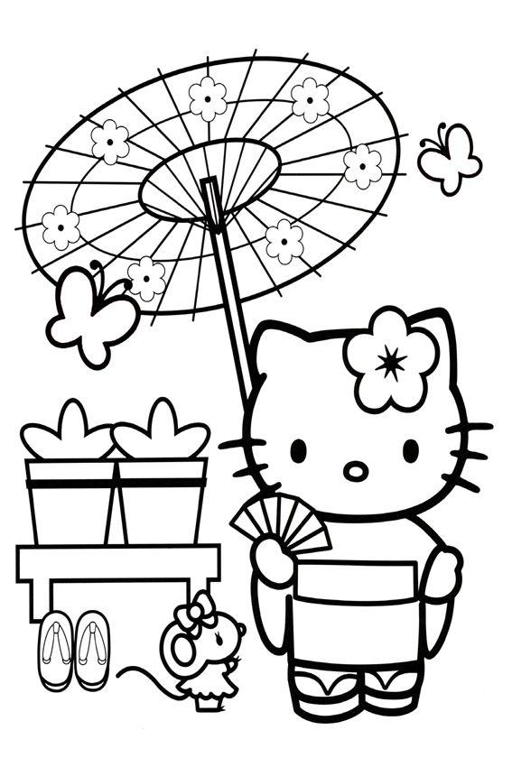 Umbrella Hello Kitty Colouring Pages Hello Kitty Coloring Kitty Coloring