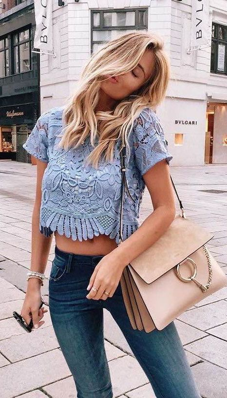 summer outfits lace crop top jeans