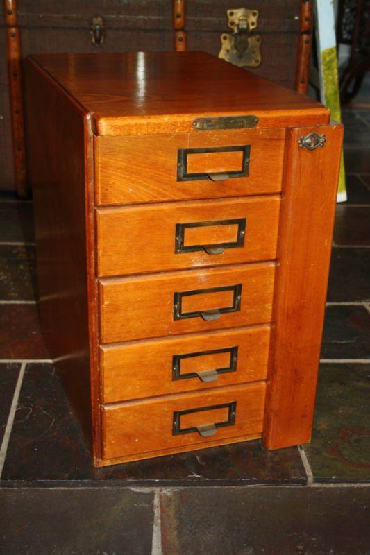 Vintage Industrial 5 Drawer Antique Filing Cabinet | eBay