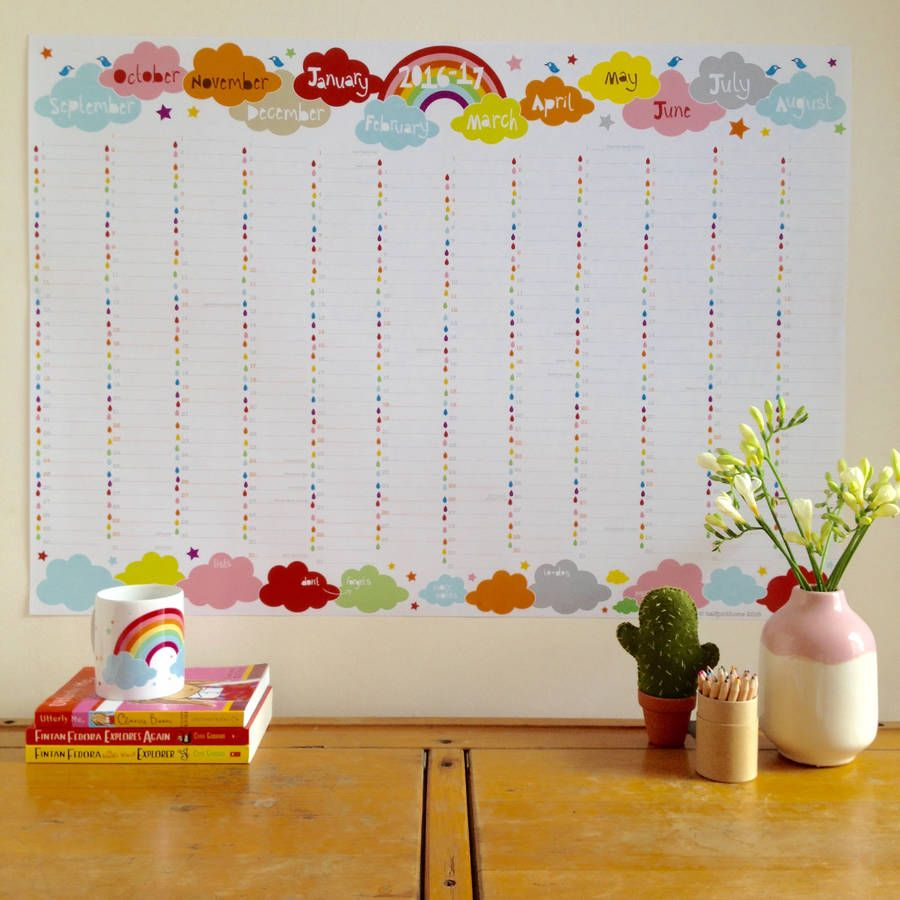 large academic rainbow wall planner 2016 to 2017 rainbow wall