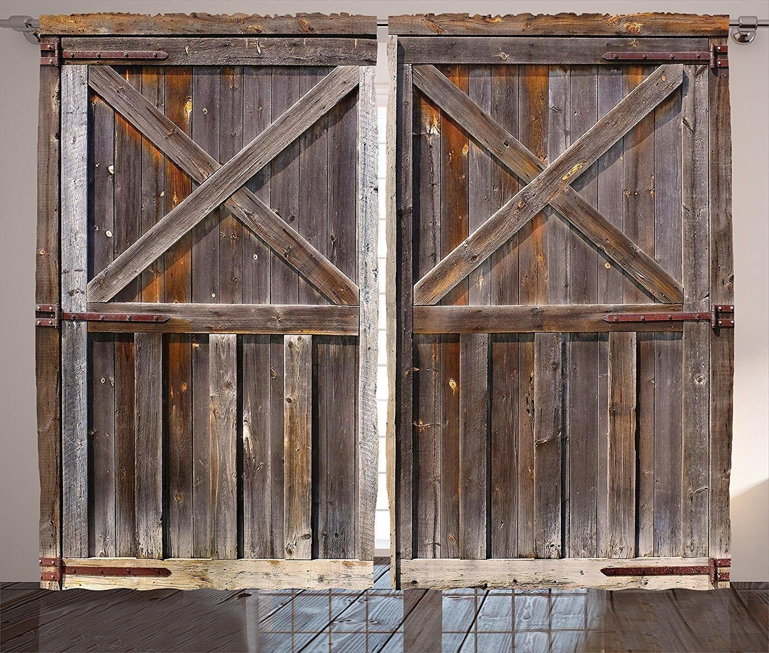 Awesome Rustic Farmhouse Old Wooden Barn Doors Curtains With Country Shabby Decor