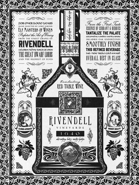#Lordoftherings Rivendell Vineyards #Vintage #Ad Art Print by Barrett Biggers