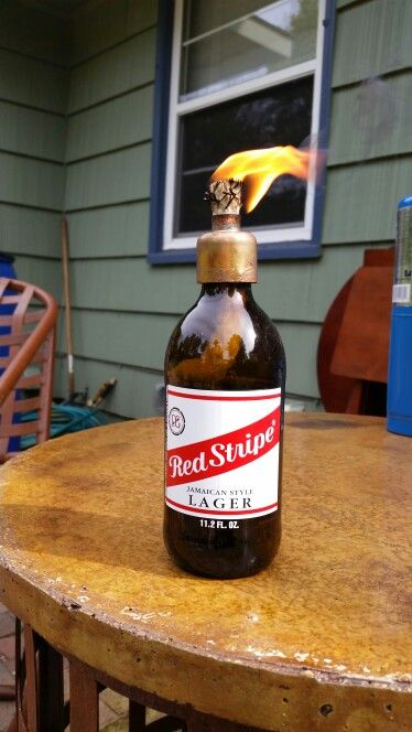 Tiki Torch From Red Stripe Bottle With Images Bottle Tiki