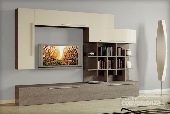 Parete soggiorno moderna in finitura larice grigio con - Pitturare il soggiorno ...