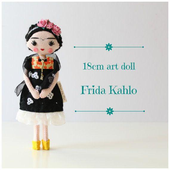18cm Frida Kahlo art doll. Whisper of the Pipit UK $85 Felt, Ribbon ...