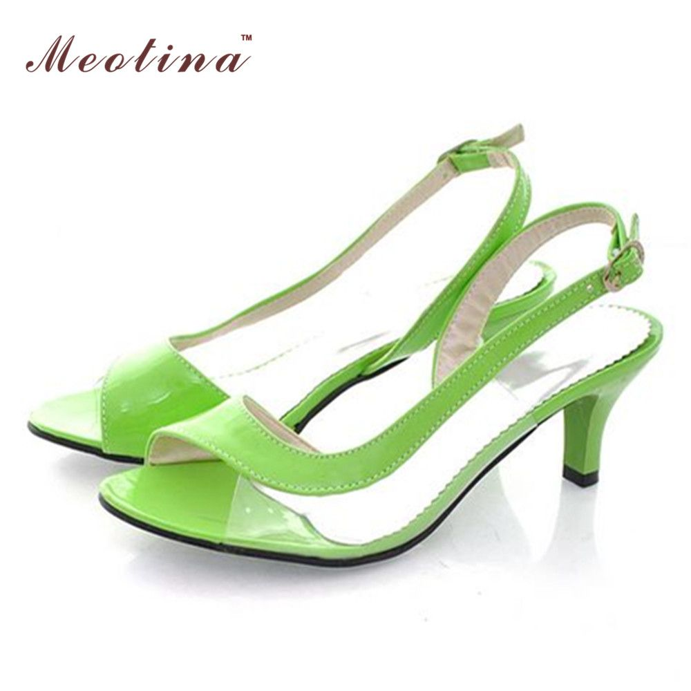 a436151da4644f Meotina Shoes Women Sandals Summer Ladies Sandals Transparent Neon Low Heels  Designer shoes High Heels Yellow Big size 11 12 46
