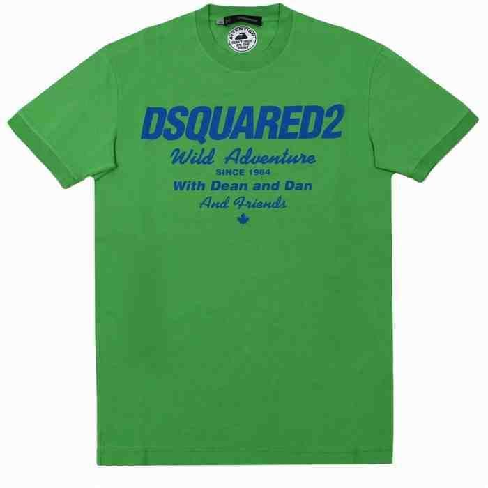 [G228]ディースクエアード/DSQUARED2/S71GD0118 S20694 669/メンズ/プリント/Tシャツ/半袖/グリーン