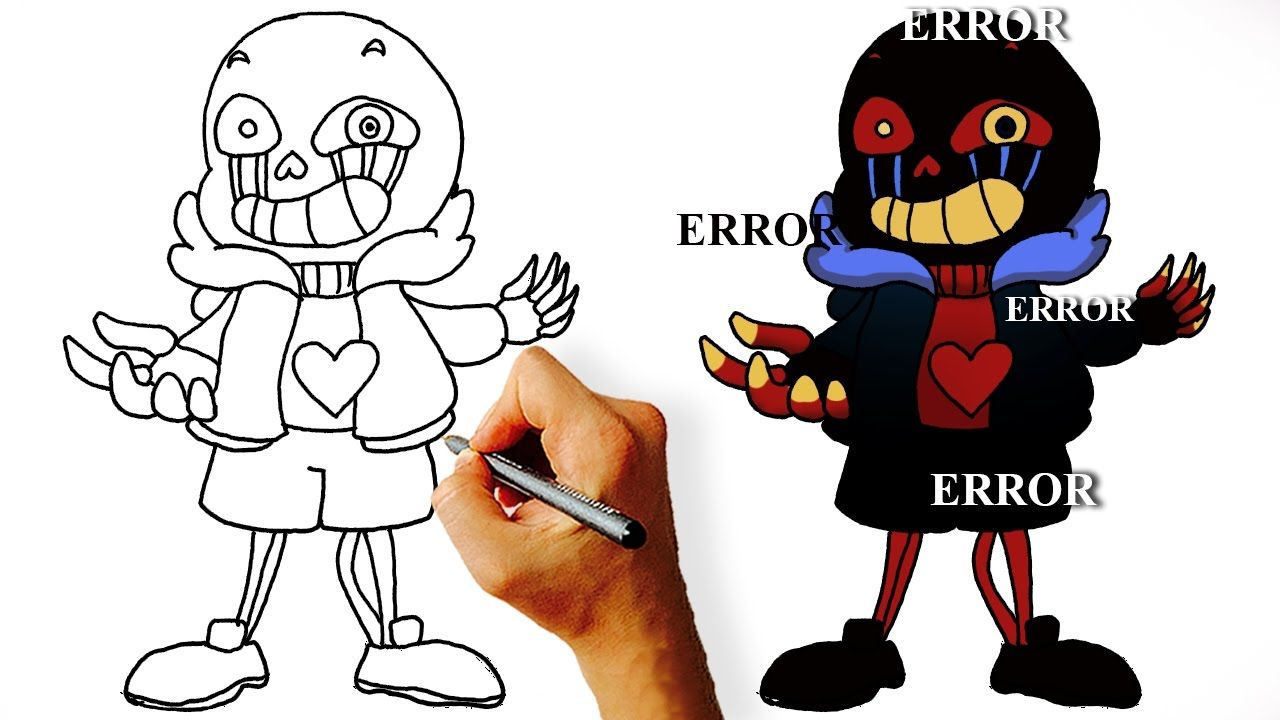 Coloriage Undertale.How To Draw Error Sans Step By Step How To Draw Undertale