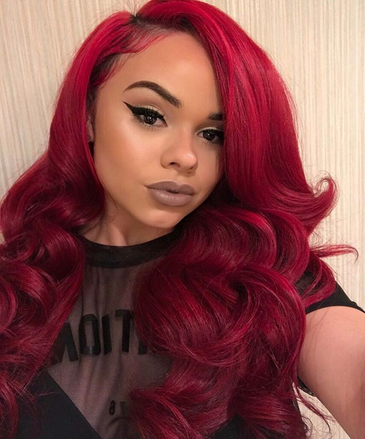 Red Sew In Weave : weave, Hayes, ❤️, SEWINS, WIGS,, PONYTAILS, VIXENS,, FRONTALS, Styles,, Weave, Hairstyles,