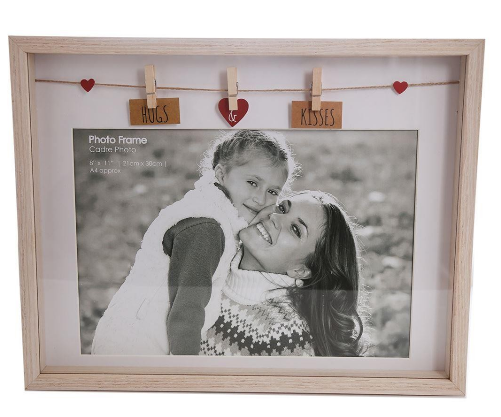 Clothes Line Wooden Box Picture Frame With Pegs For A4 Photo Print