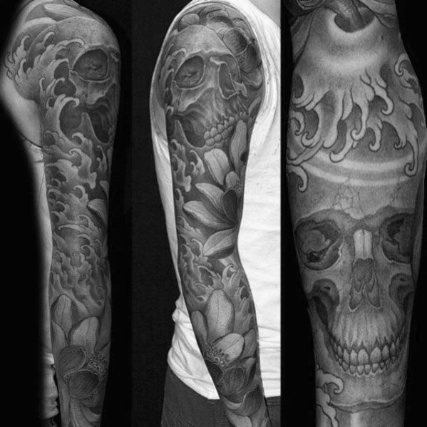 8b8eb4952b56f Discover traditional ink inspiration with the top 40 best Japanese skull  tattoo designs for men. Explore cool cranium body art ideas with stoic  beauty.