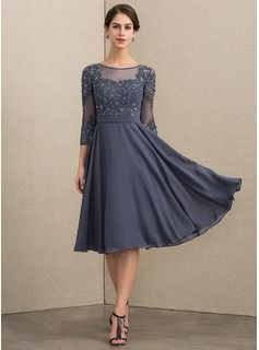 44d68a48af A-Line Scoop Neck Knee-Length Chiffon Lace Mother of the Bride Dress With  Beading Sequins