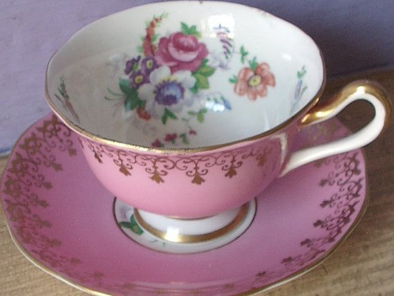 Antique 1950's Royal Albert pink tea cup and by ShoponSherman, $49.00