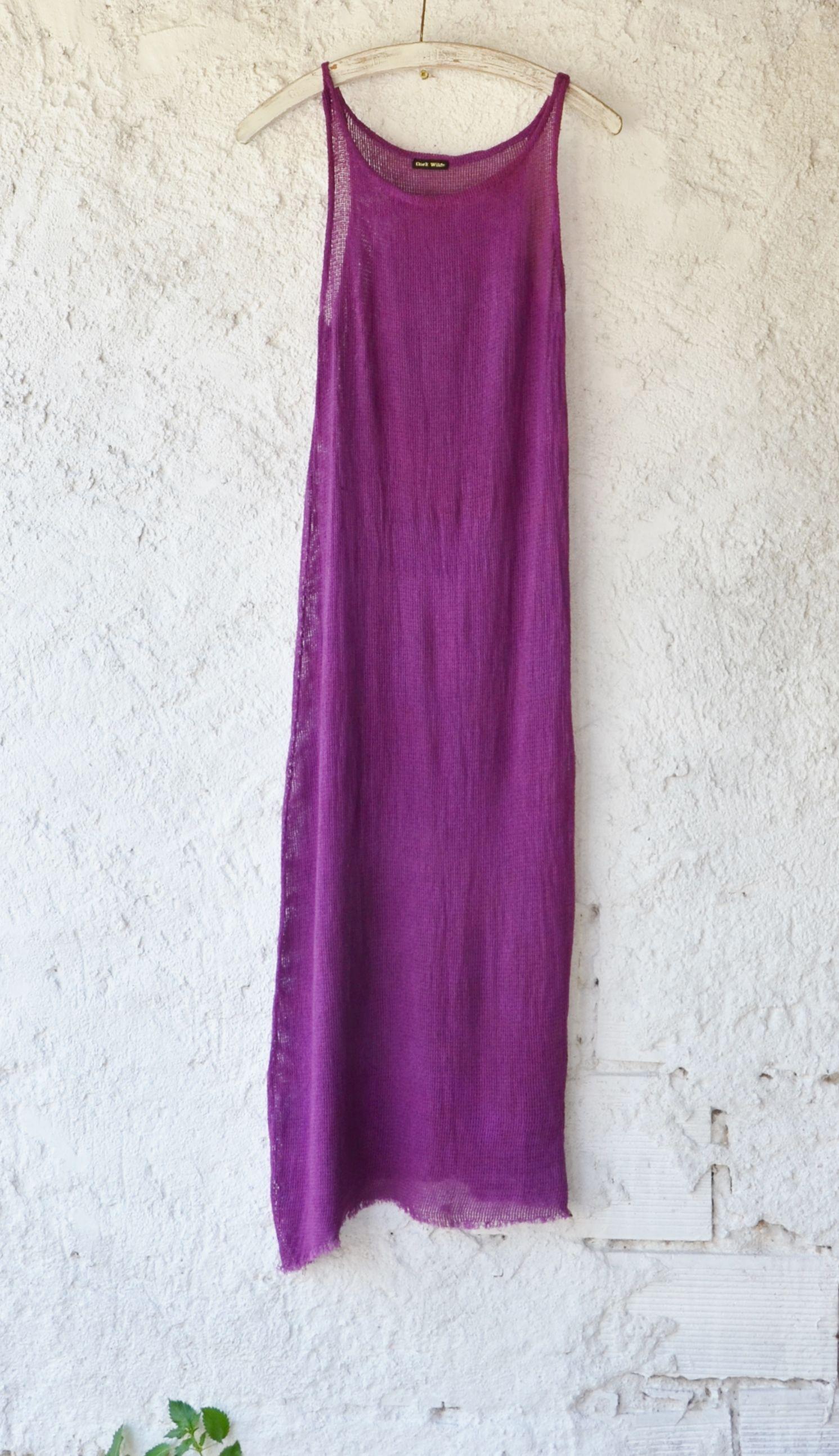 Knitted wedding dress  Alternative style wedding dress in deep pinkypurple shade Made