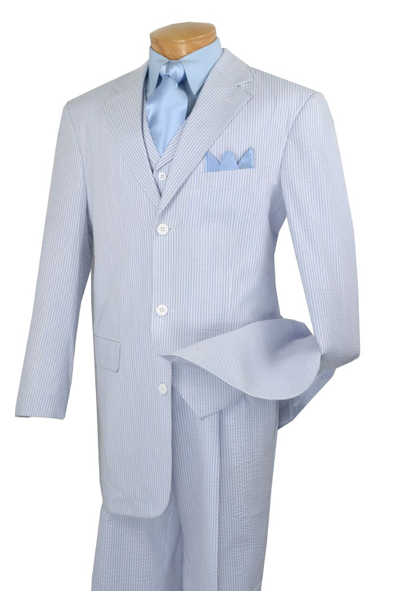 Vinci Mens Fashion Baby Blue Seersucker 3 Piece Suit 33SS-6 ...
