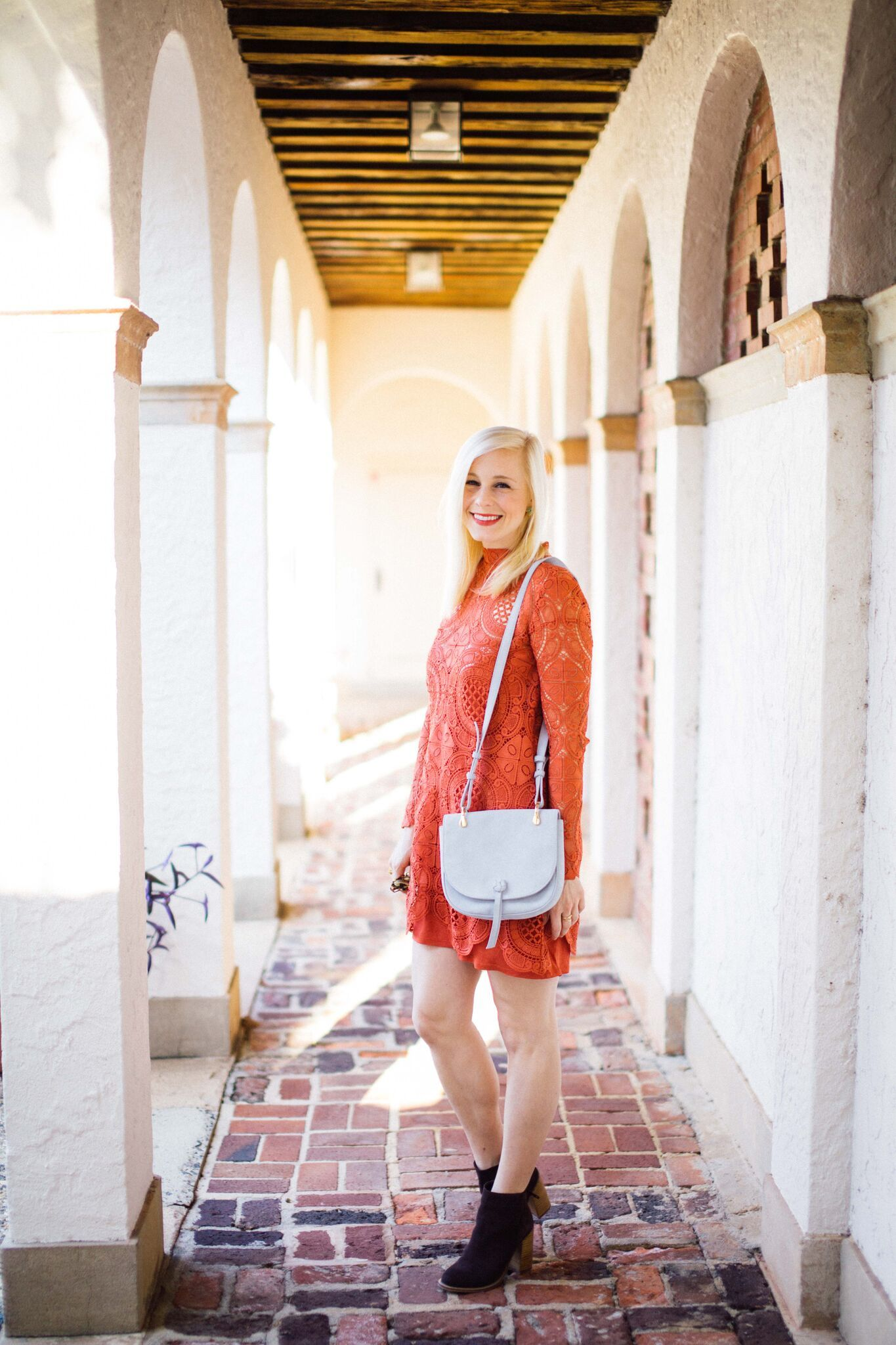 burnt orange lace dress - perfect for game day