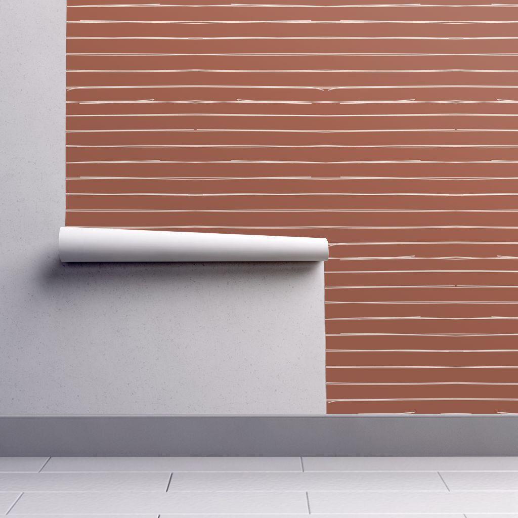 Wallpaper Striped Wallpaper Horizontal Earth Tone Easy Install Removable Wallpaper Repositionabl Removable Wallpaper Striped Wallpaper Peel And Stick Wallpaper