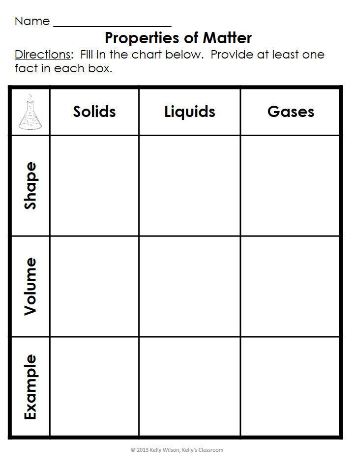 Printable Worksheets solid liquids and gases worksheets : What are the basic properties of matter? ($) #matter #solids ...