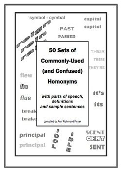 50 Sets Of Homophones With Definitions Sentences And Parts Of