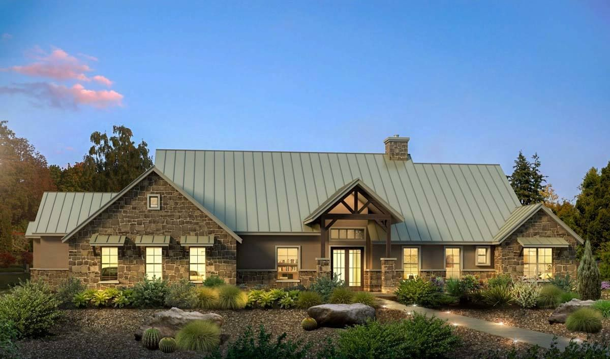 Modern hill country house plan with side load garage 430002ly architectural designs house plans