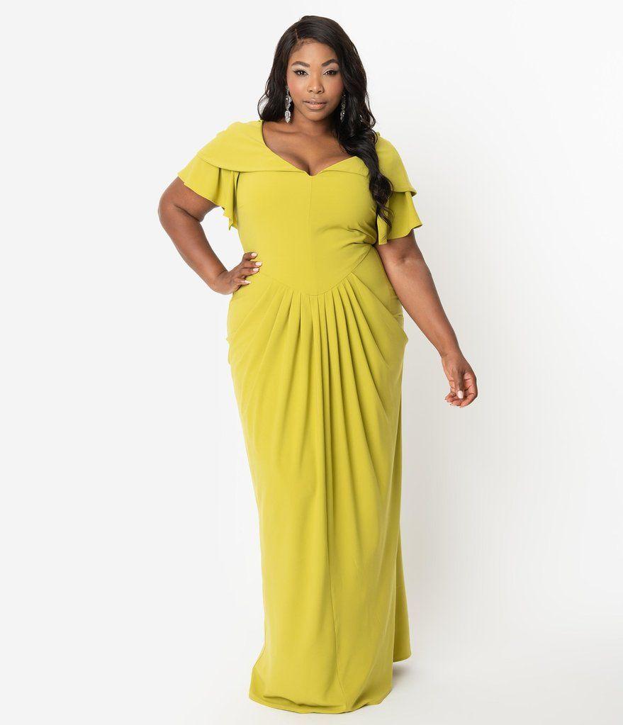 Micheline Pitt For Unique Vintage Plus Size 1940s Style Chartreuse Zho Prom Dresses Vintage Plus Size Evening Gown Evening Dresses Plus Size [ 1023 x 879 Pixel ]