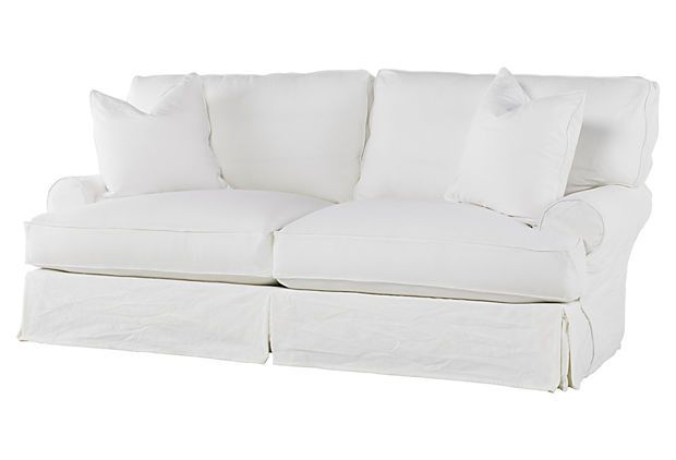 Comfy Slipcovered Sleeper Sofa White Denim House Ideas