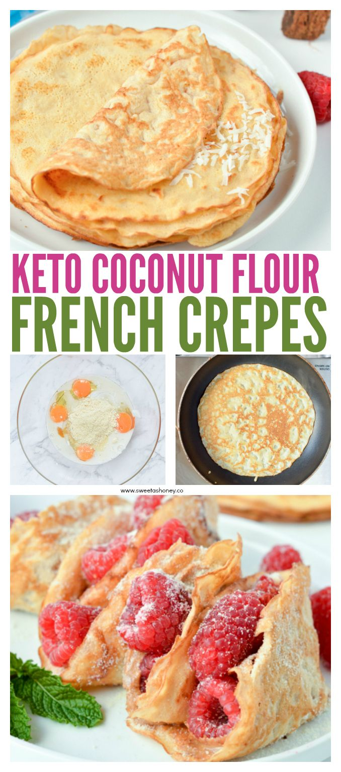 KETO COCONUT FLOUR CREPES are easy low carb breakfast or desserts crepes perfect for sweet or savory filling. #keto #ketocrepes #glutenfreecrepes #almondflourcrepes #crepes #lowcarb #paleo #ketosis #ketones #ketofood #ketobreakfast